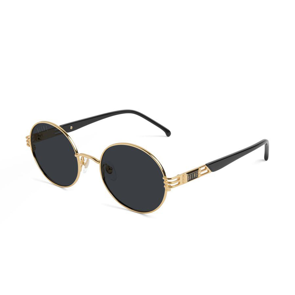 9 Five Iris Black and 24K Gold Sunglasses