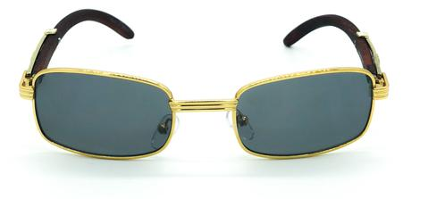 Square Carter Wood Sunglasses (Gold)