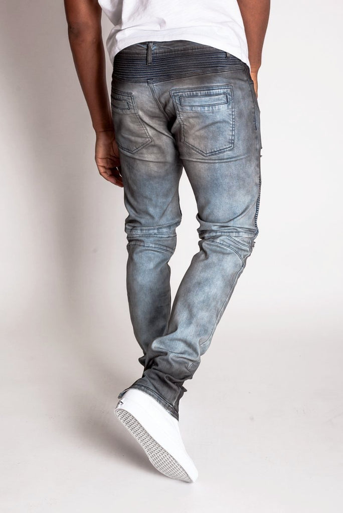 KDNK Destroyed Moto Ankle Zip Jeans