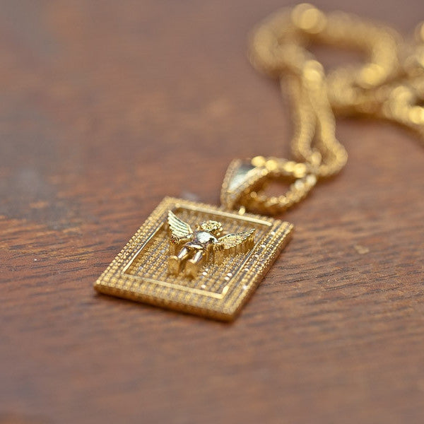 Golden Gilt Square Angel Pendant Necklace