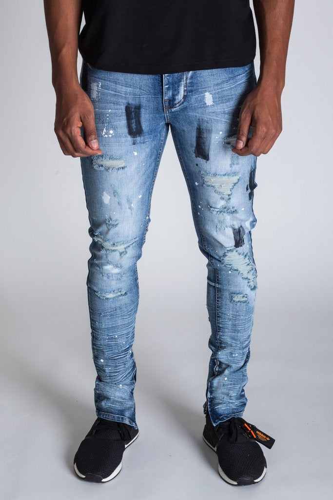 KDNK Paint Distressed Ankle Zip Jeans