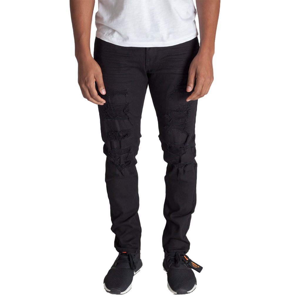 KDNK Patched and Distressed Skinny Jeans