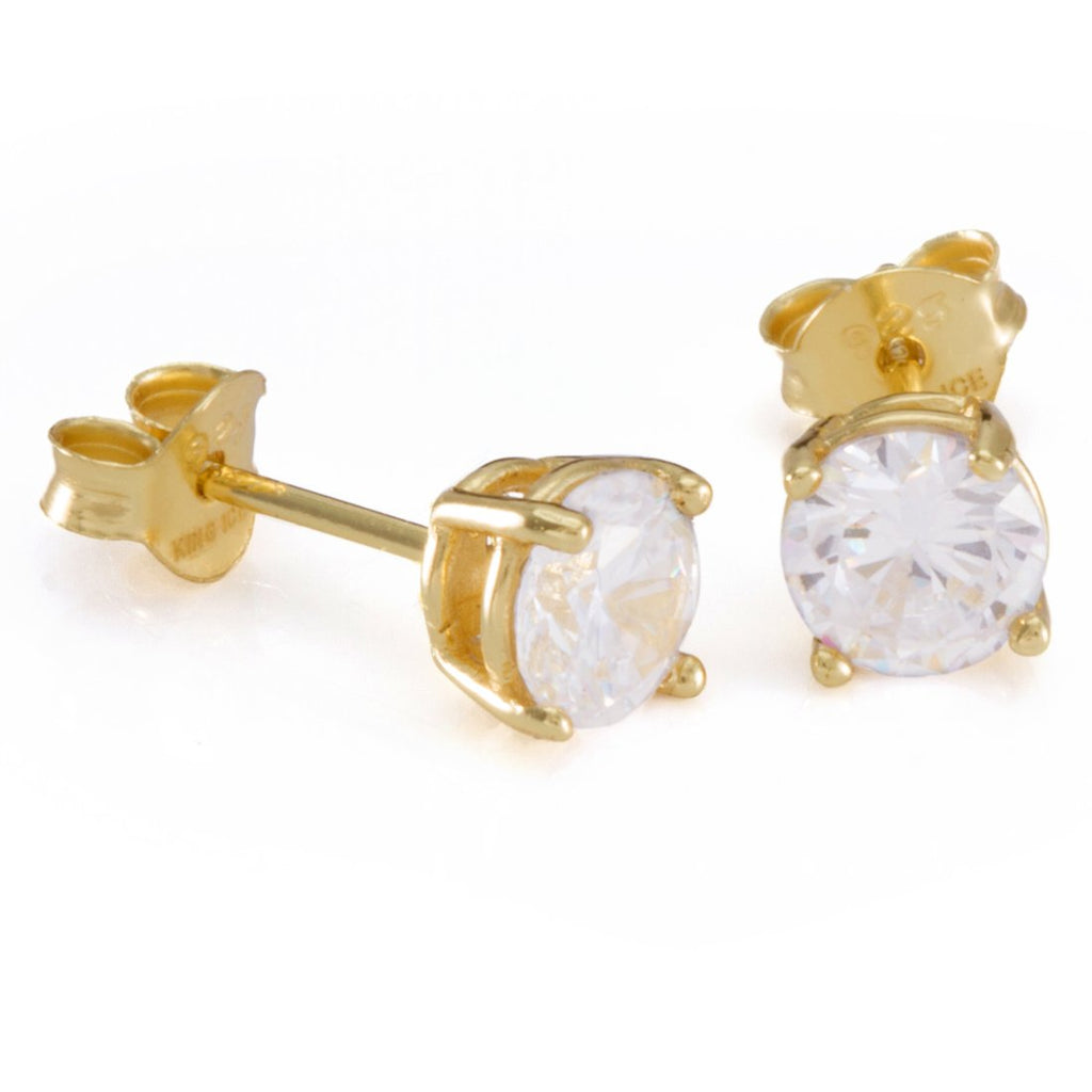 King Ice .925 Sterling Silver Gold Clear Round Stud
