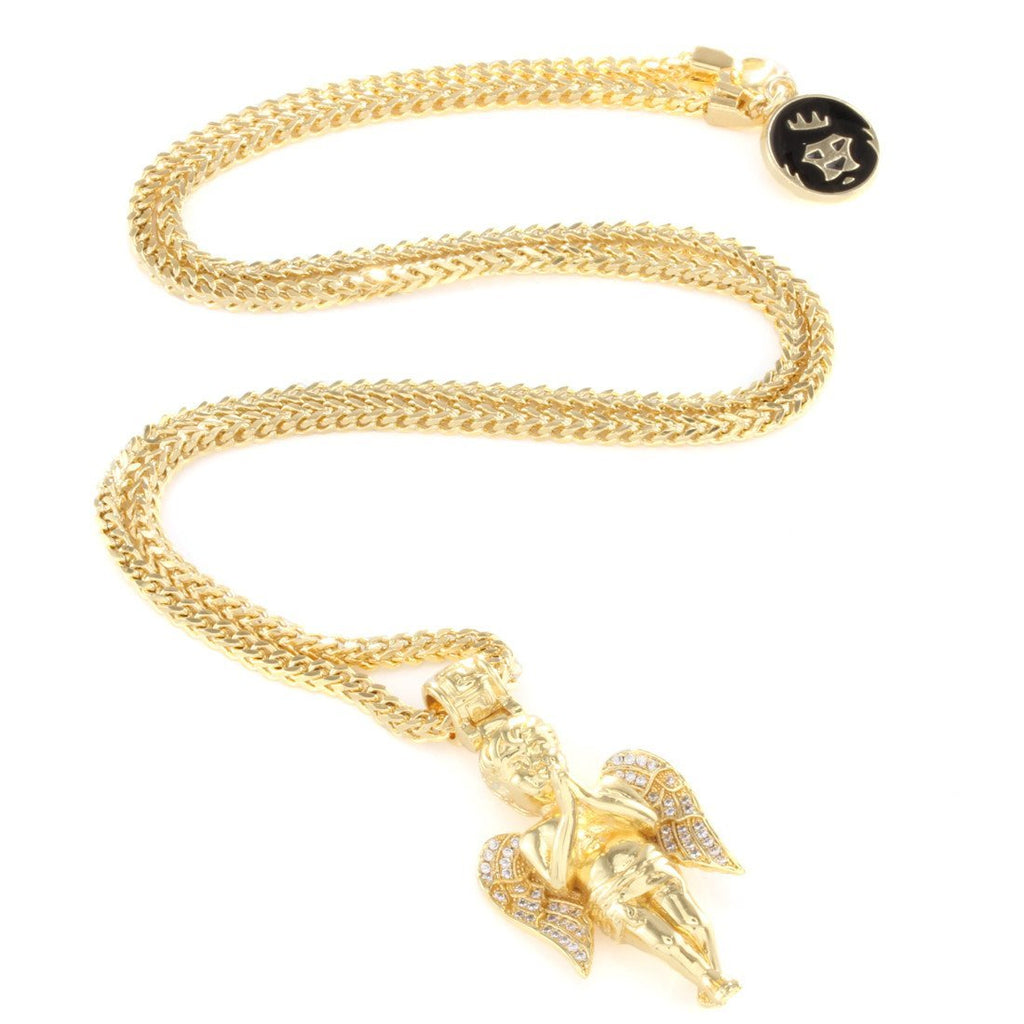 King Ice The 14K Gold Praying Angel Necklace