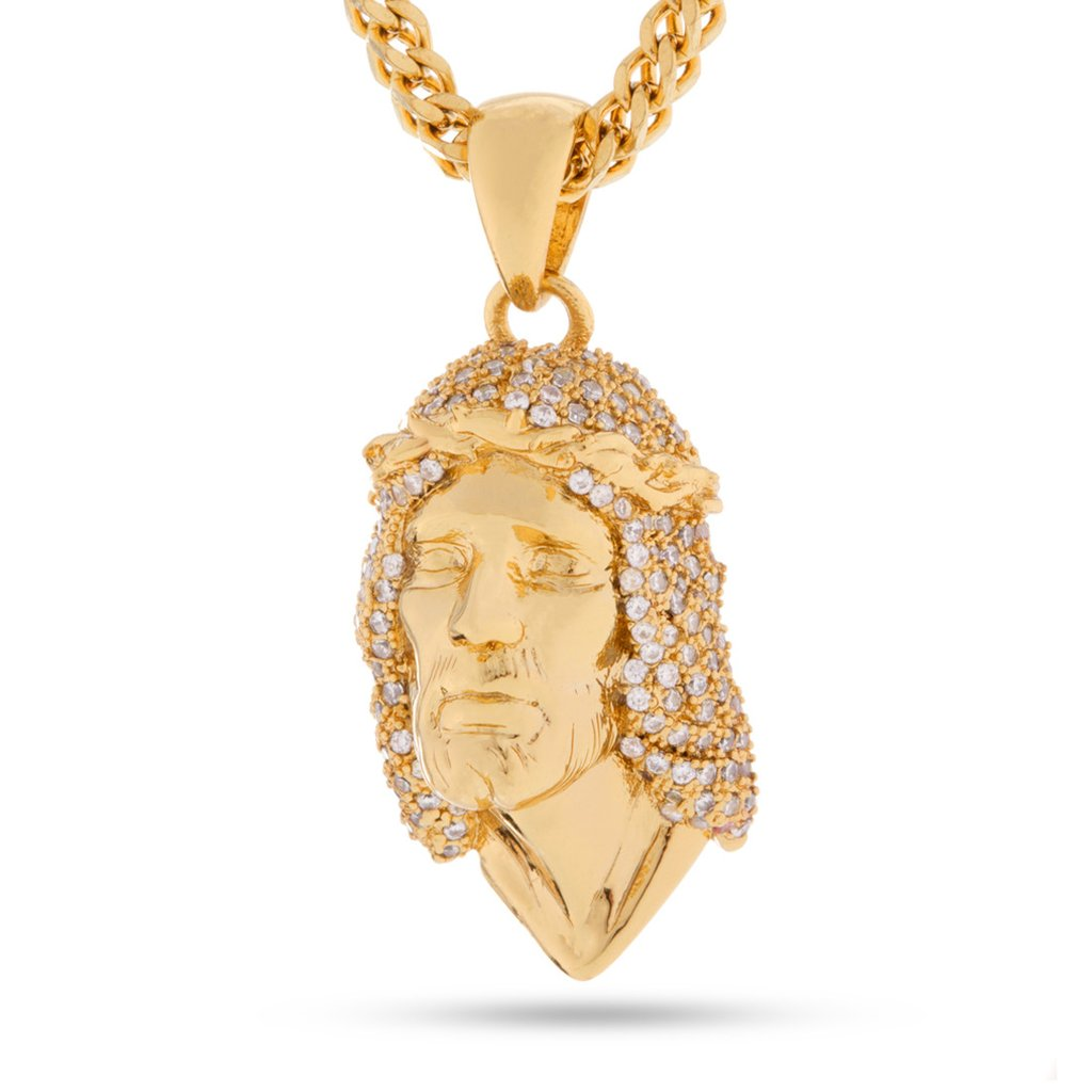 14k Gold CZ Jesus Piece Necklace