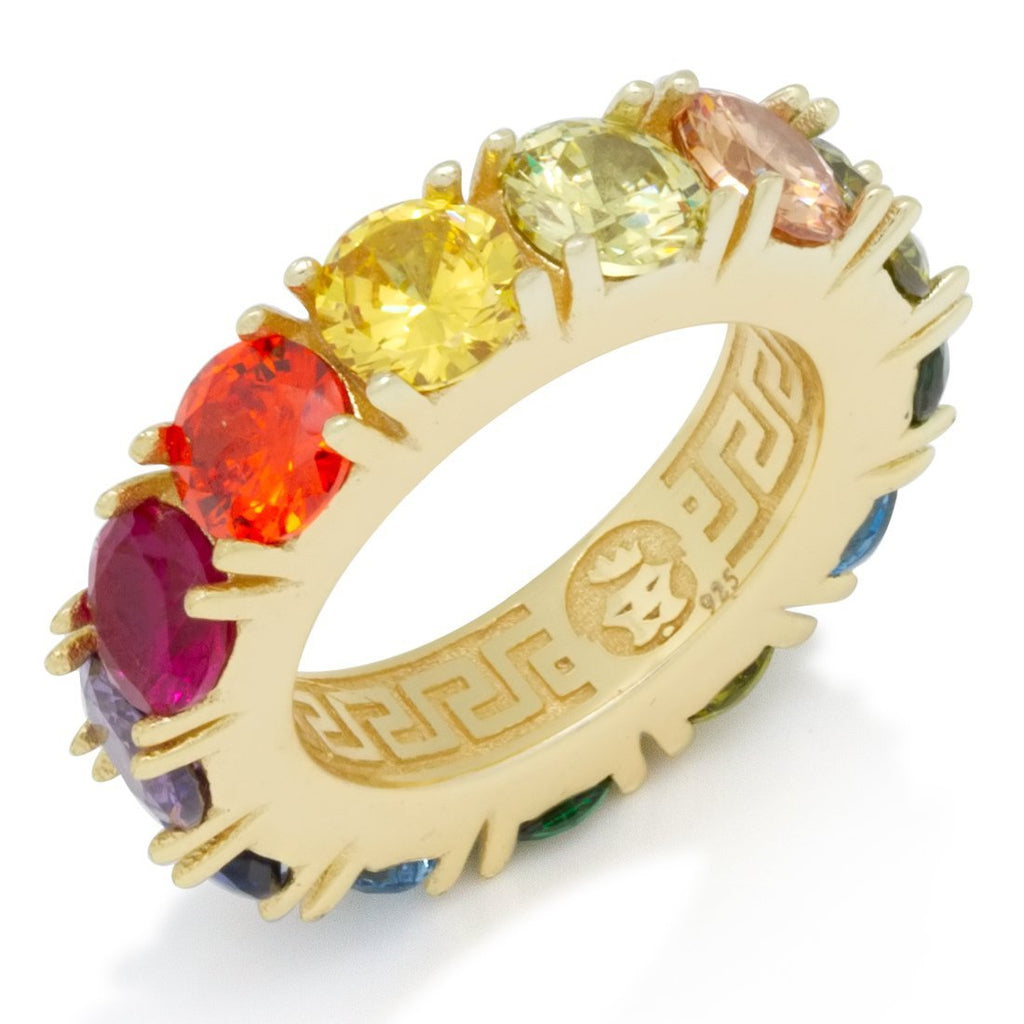 The Round CZ Single Row Rainbow Ring