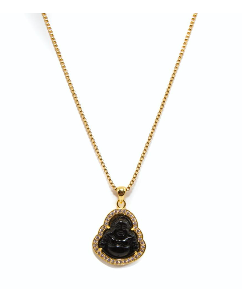 Golden Gilt Black Buddha Necklace