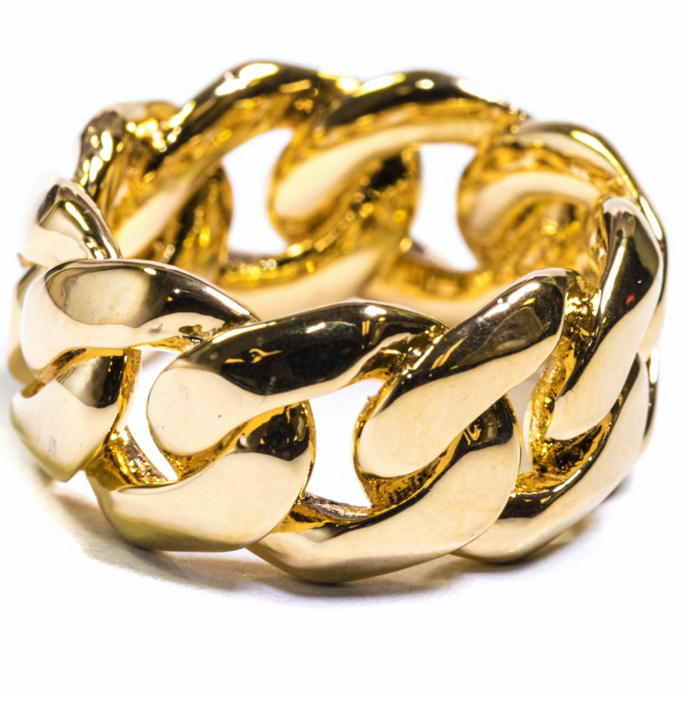 Golden Gilt Cuban Link Ring