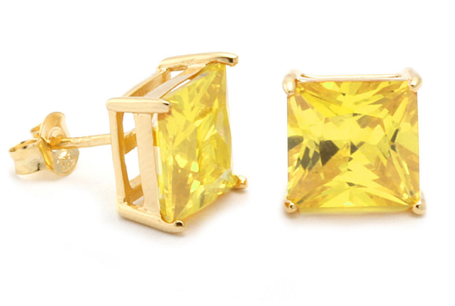 Sterling Silver Gold Canary Princess Stud Earring
