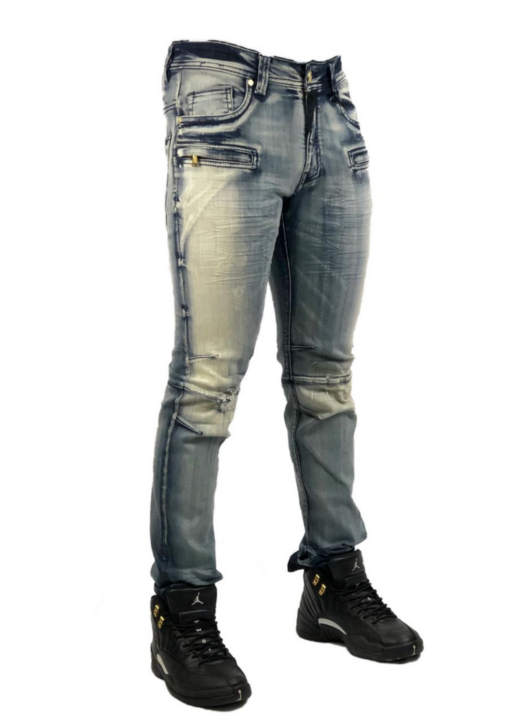 Elite Premium Denim Amazonite Biker Jeans