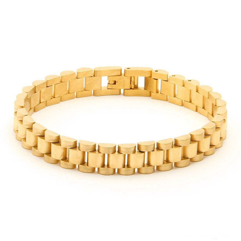 King Ice 14K Gold 10mm Rolex Watch Link SS Bracelet