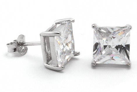 Sterling Silver Diamond CZ Square Stud