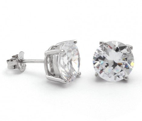King Ice .925 Sterling Silver CZ Round Stud Earrings