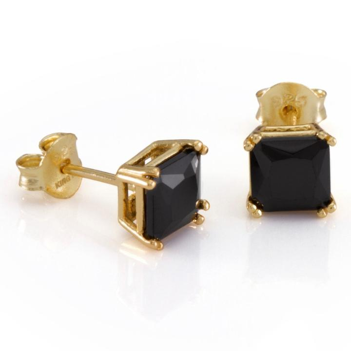 King Ice .925 Sterling Silver Gold Black Princess Stud