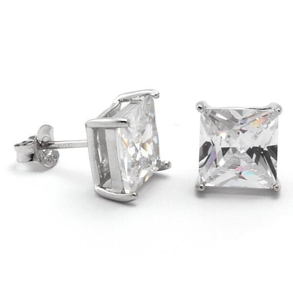 King Ice White Gold .925 Sterling Silver Princess Cut Earrings