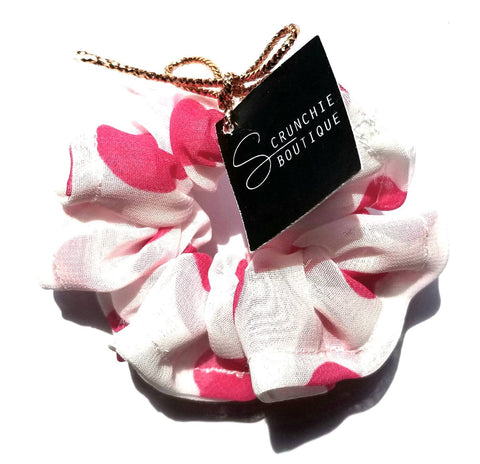 Scrunchie - Élastique - Pink & white polka dot