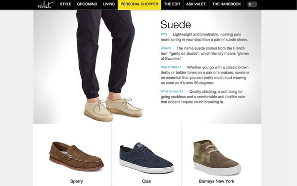 VALET: BUYING PLANNER- SUEDE SHOES