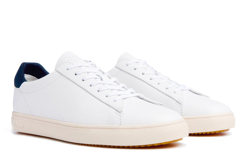 handcrafted white full grain leather court sneakers made by clae los angeles premium version of adidas stan smith3/4 view