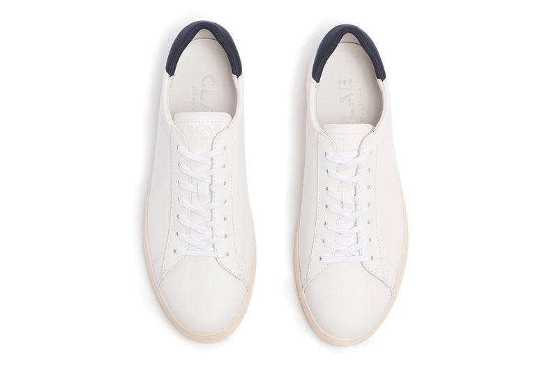 handcrafted white full grain leather court sneakers made by clae los angeles premium version of adidas stan smith top view