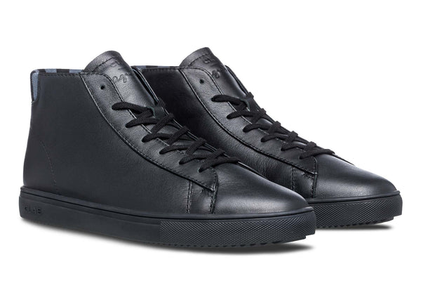 mid court sneakers made of black milled full grain leather CLAE los angeles agnès b
