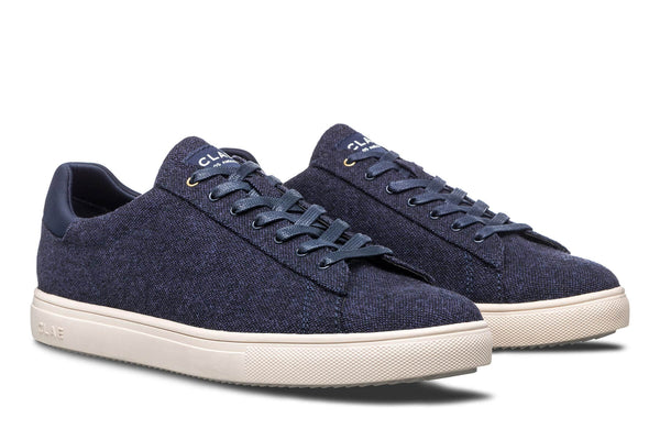 Vegan navy canvas textile court sneakers CLAE Los Angeles Bradley Stan Smith