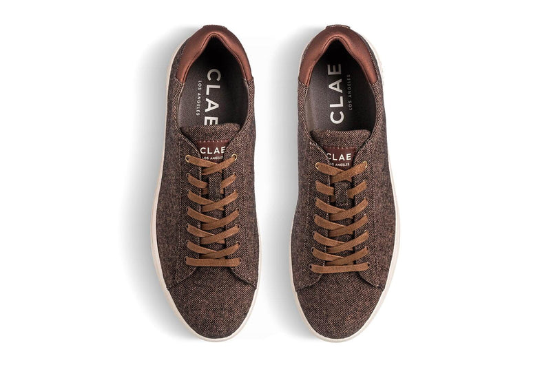 Vegan brown umber canvas textile court sneakers CLAE Los Angeles Bradley Stan Smith