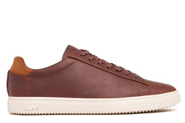 Chestnut brown leather neoprene heel leather premium court athletic sneakers CLAE los angeles Bradley Stan Smith