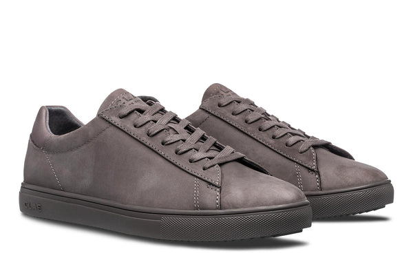 Smooth nubuck leather court sneakers clae los angeles