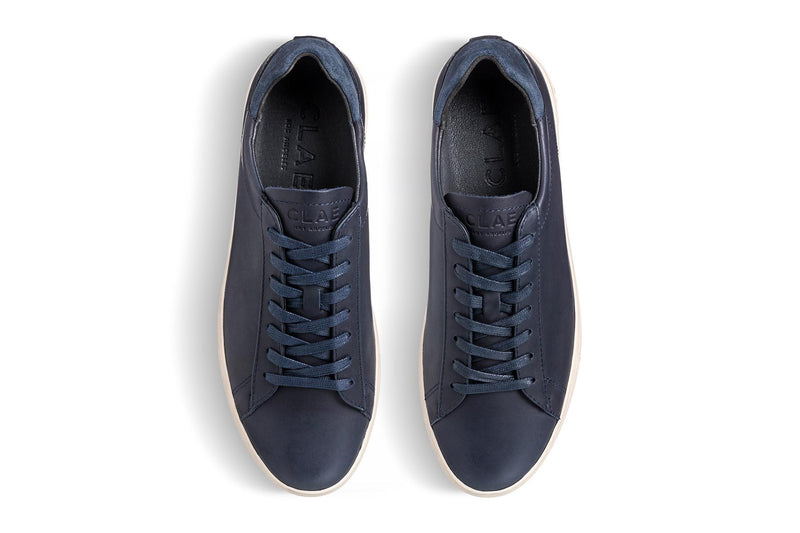deep navy aniline leather court sneakers CLAE los angeles Bradley Stan Smith top view