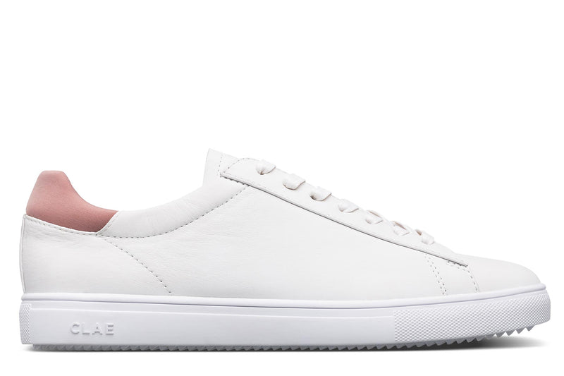 White leather old pink neoprene heel leather premium court athletic sneakers CLAE los angeles Bradley Stan Smith