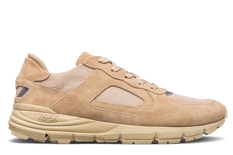 VAnilla tan suede premium retro runner sneakers CLAE los angeles Hayden