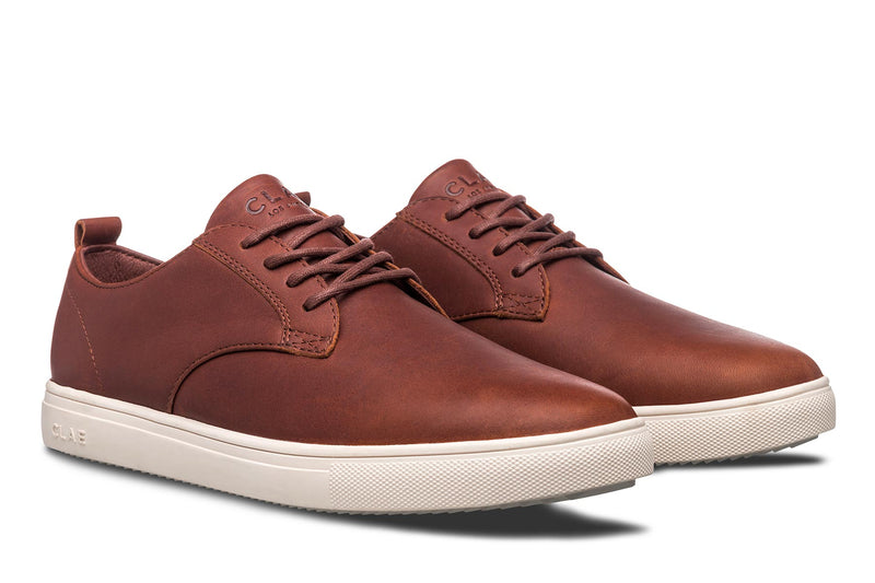 Chestnut Brown Oiled Leather Derby sneakers CLAE los angeles