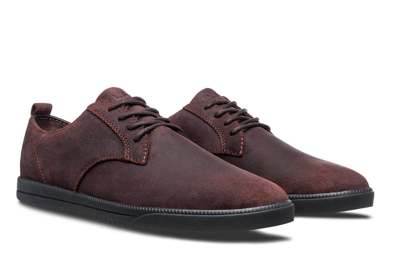 Derby umber brown waxed suede sneakers CLAE los angeles Ellington
