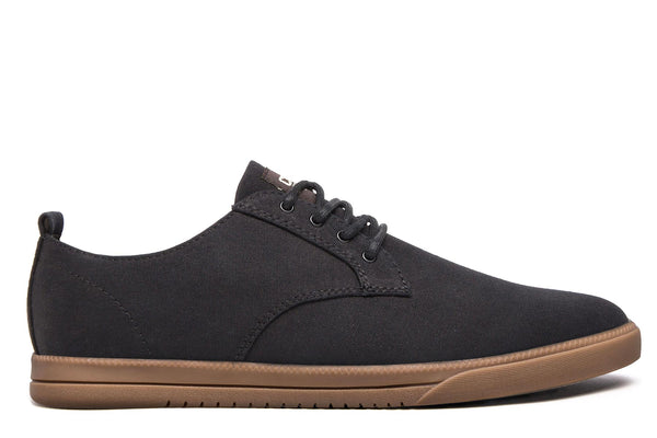 Derby black canvas sneakers with tobacco gum sole CLAE los angeles