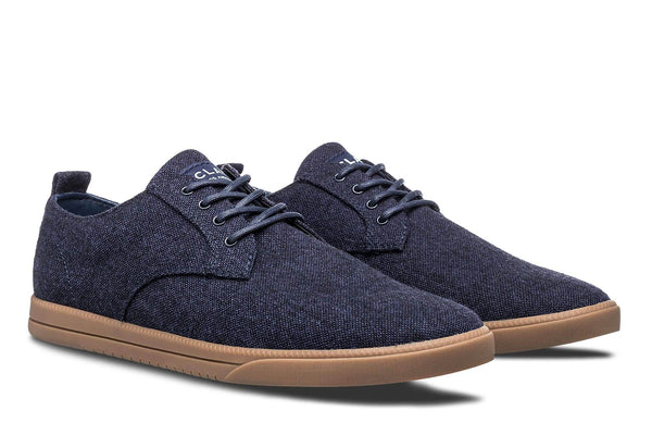 Derby navy blue canvas sneakers with tobacco gum sole CLAE los angeles
