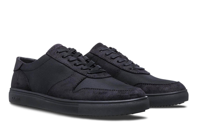 Athletic black waxed Suede Sneakers Gregory CLAE los angeles