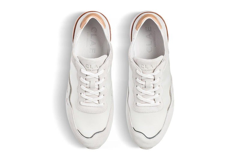 white grey suede premium retro runner sneakers CLAE los angeles Hayden
