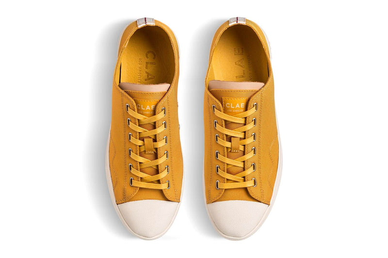 ochre yellow nylon toe cap sneakers CLAE los angeles Herbie