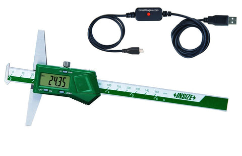"1144-200 INSIZE 8"" Depth Gage w/Hooks USB Direct Package"