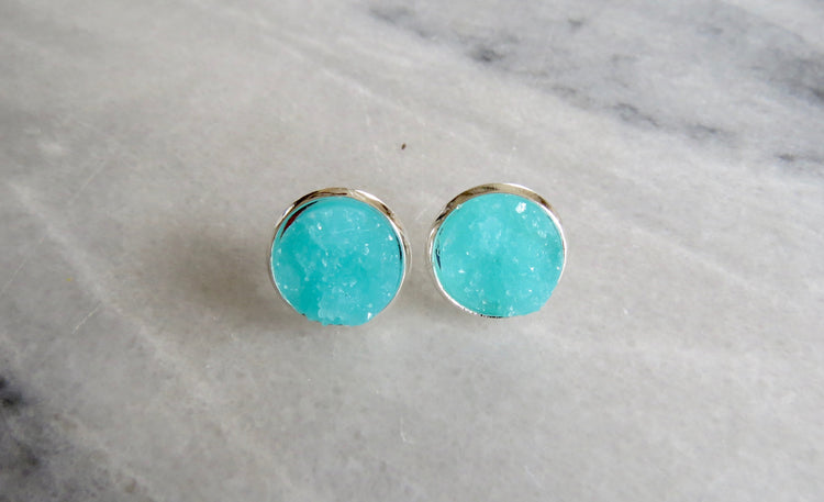 turquoise druzy post in silver