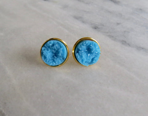 blue druzy post in gold