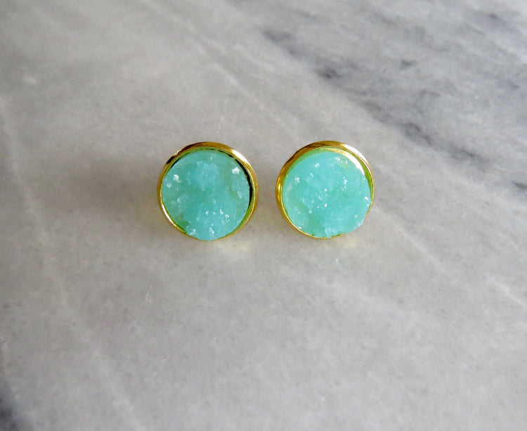 turquoise druzy post in gold