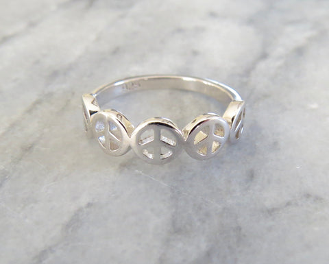 multi peace sign ring
