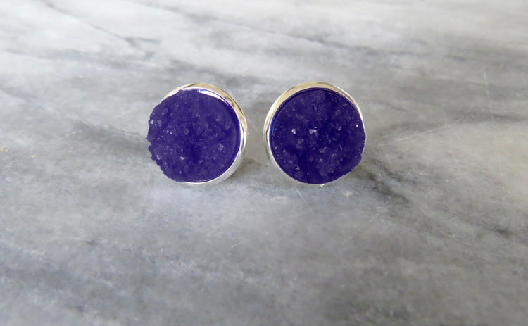 dark purple druzy post in silver