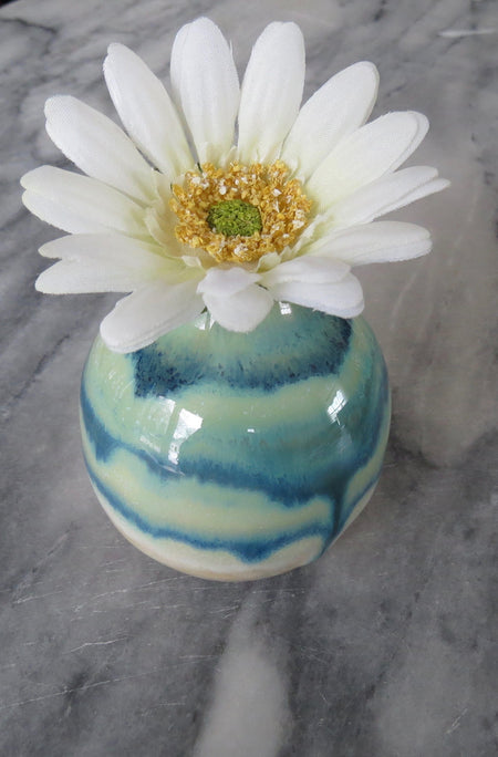 blue and turquoise glazed vase