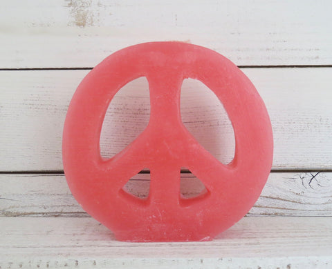 pink peace sign candle