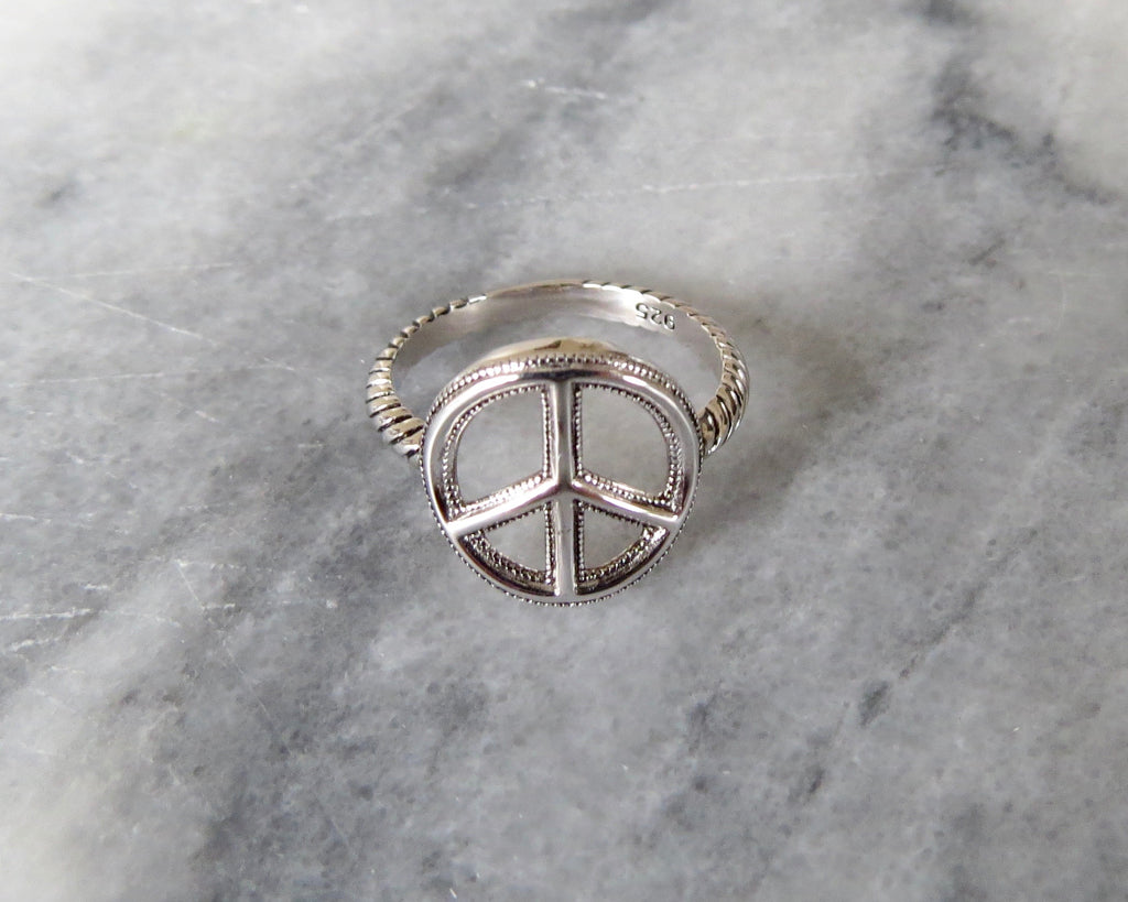 Large Peace Sign Ring The Flower Child
