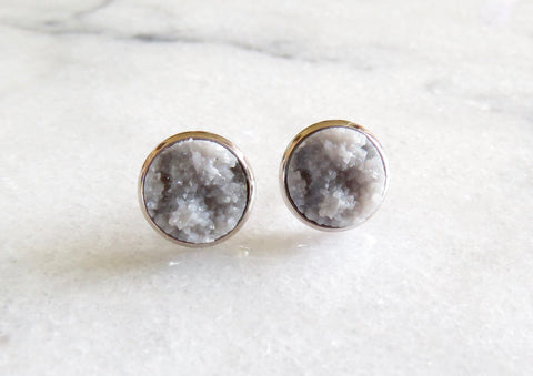 grey druzy post in silver