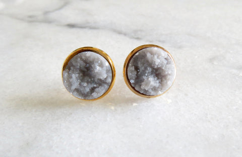 grey druzy post in gold
