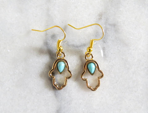 gold hamsa earrings